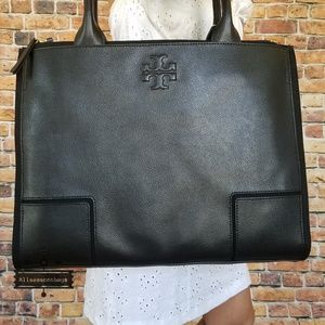Tory burch ella canvas leather tote black large
